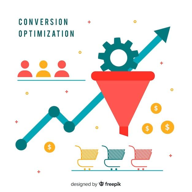 Flat marketing optimization background Free Vector