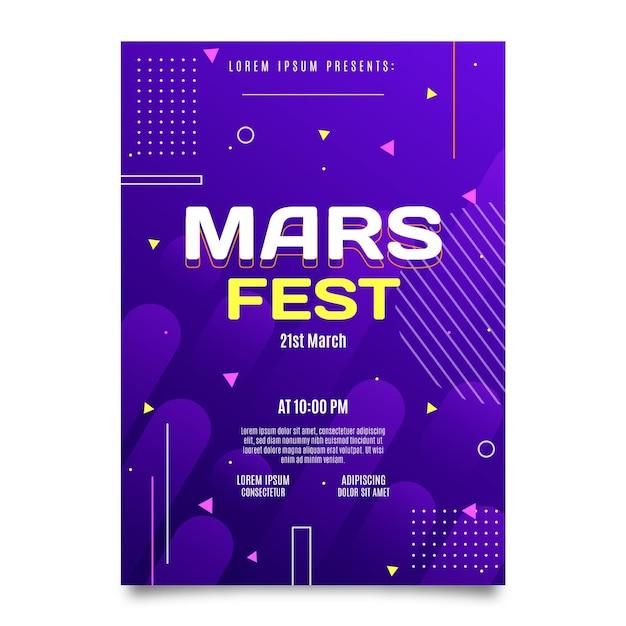 플랫 화성 축제 포스터 템플릿 무료 벡터
