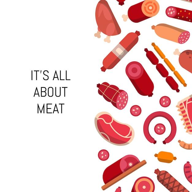 Плоские мясные и колбасные иконы Premium векторы