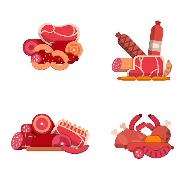 Flat meat and sausages icons piles set isolated on white Premium Vector
