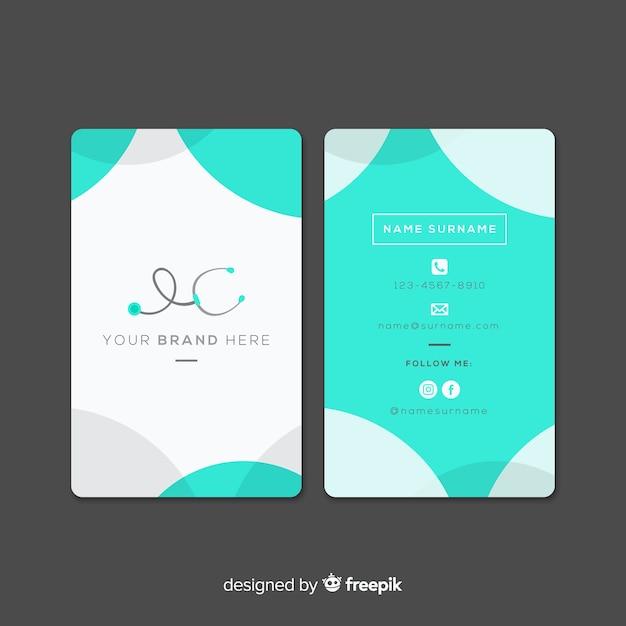 Flat medical business card design Free Vector
