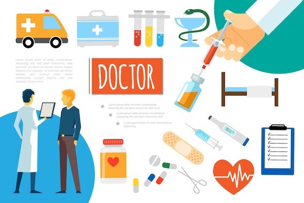 Плоский состав медицинской помощи Бесплатные векторы