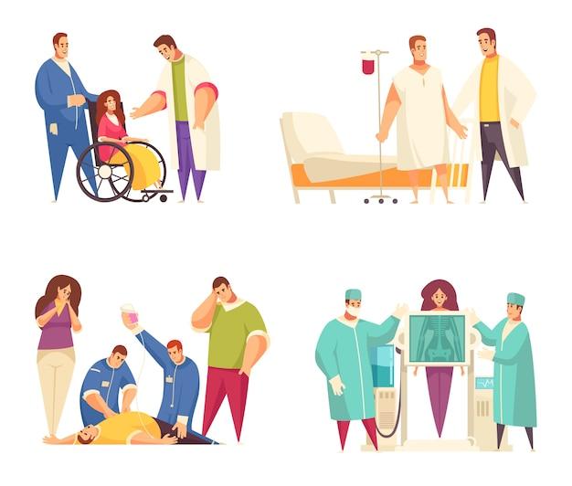 Flat medical design concept set with nursing home reanimation fluorography rehabilitation descriptions vector illustration Free Vector