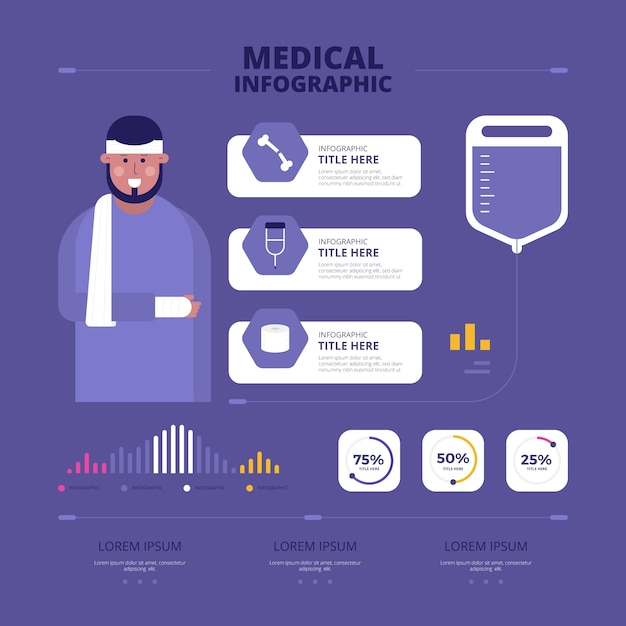 Flat medical infographic Free Vector