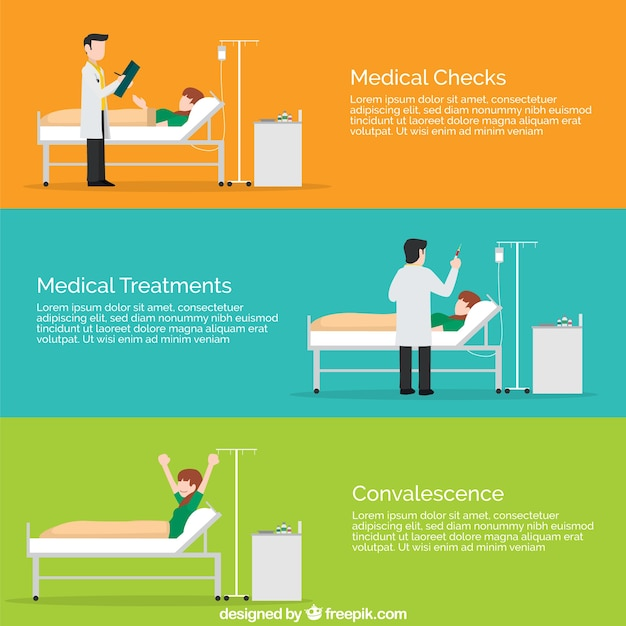 Flat medical situation templates Free Vector
