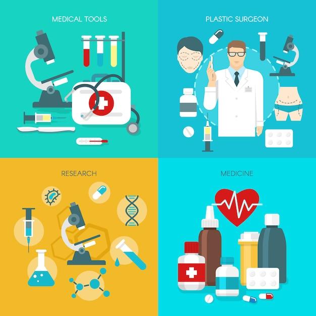 Set di icone di medicina piatta Vettore gratuito