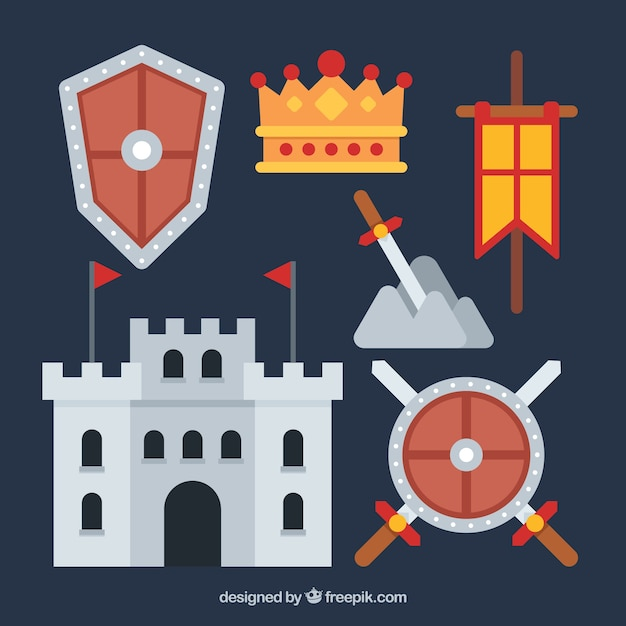 Flat medieval castle and elements Free Vector
