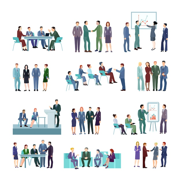 Flat meeting conference groups set of business people discussing strategies Free Vector