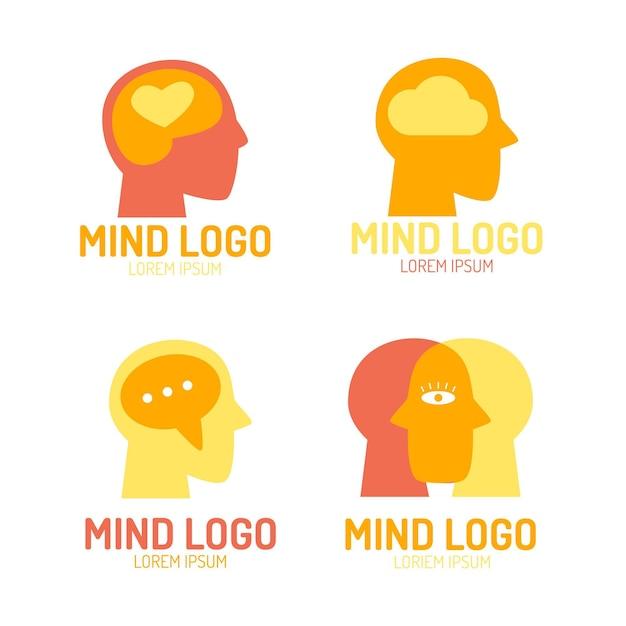 Плоский набор логотипов психического здоровья Бесплатные векторы