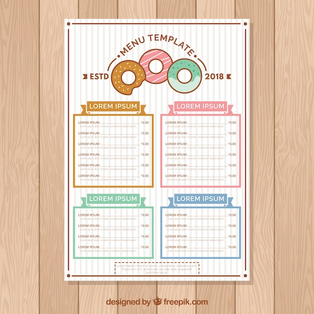 Flat menu template for a cafe Free Vector