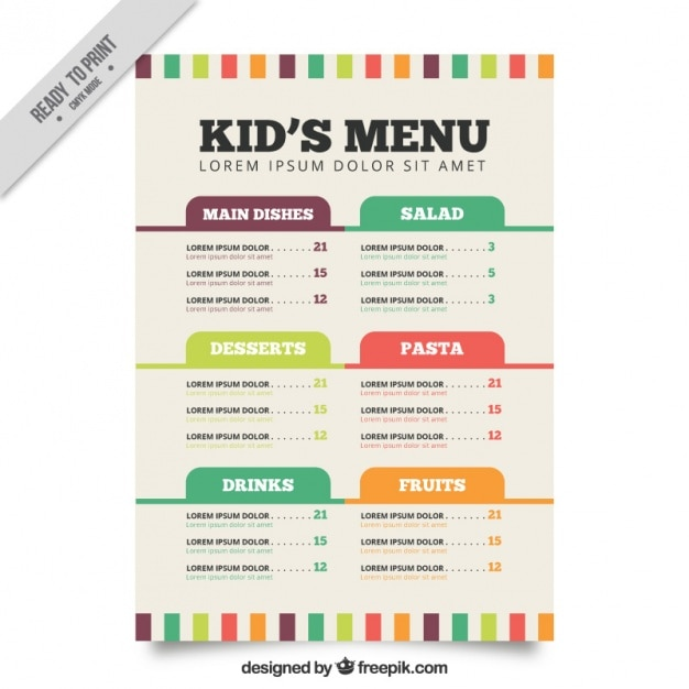 Flat menu template for kids vector free download for Free printable menu templates for kids