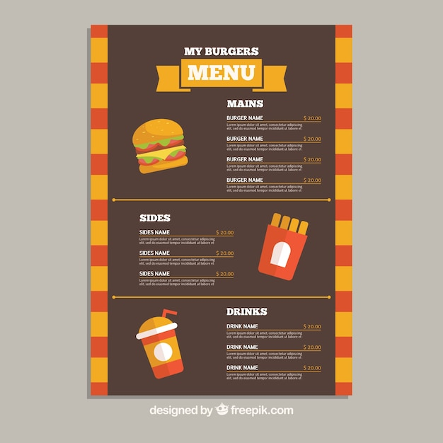 Flat menu template with burgers, drinks and\ fries