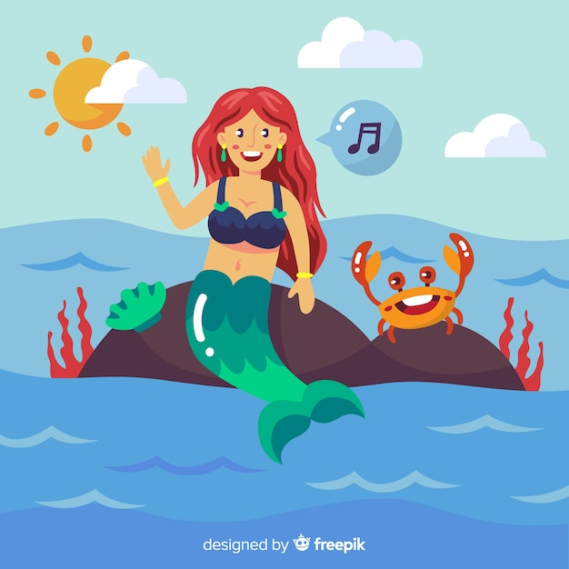 Flat mermaid background Free Vector