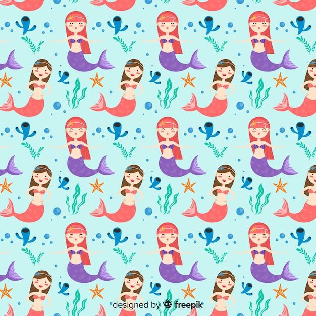 Flat mermaid pattern Free Vector