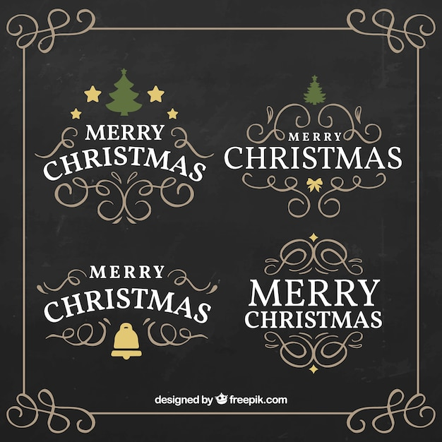 Flat Merry Christmas Labels In Vintage Style Vector Free Download