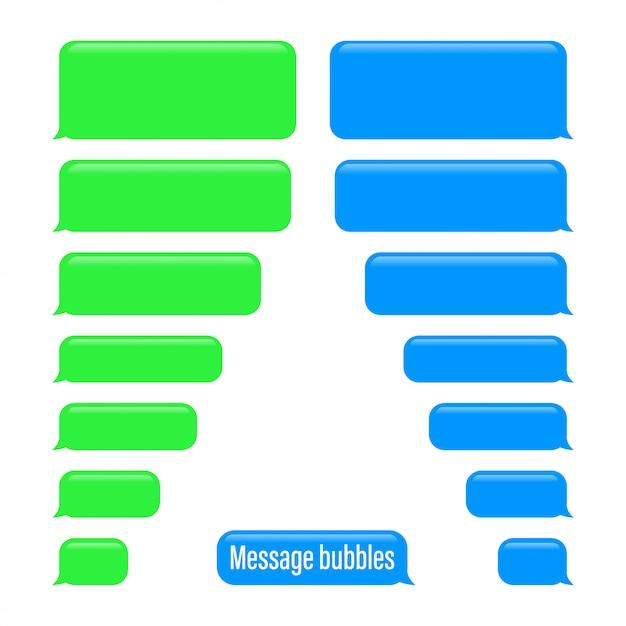 Flat messages bubbles. chat interface. message bubbles Premium Vector