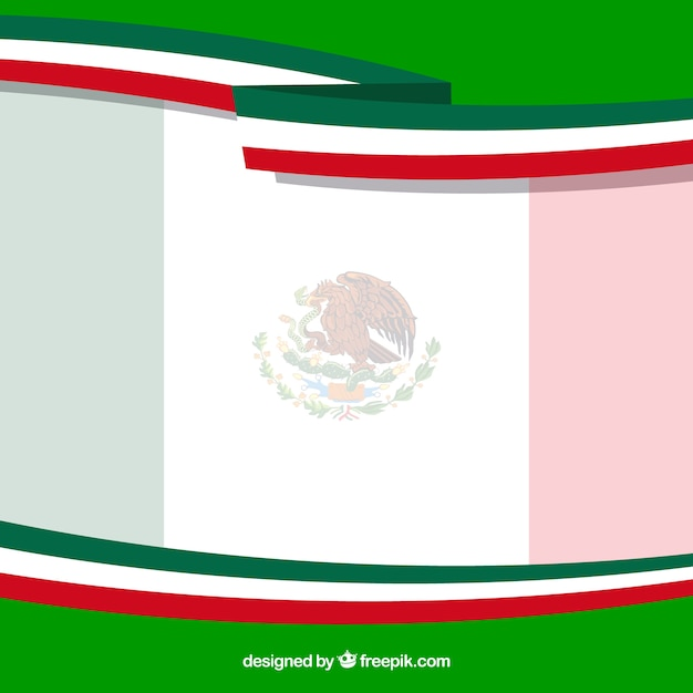 Flat mexican flag background Free Vector