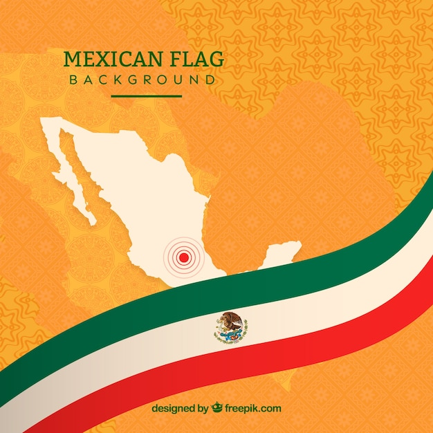 Flat mexican flag background Premium Vector