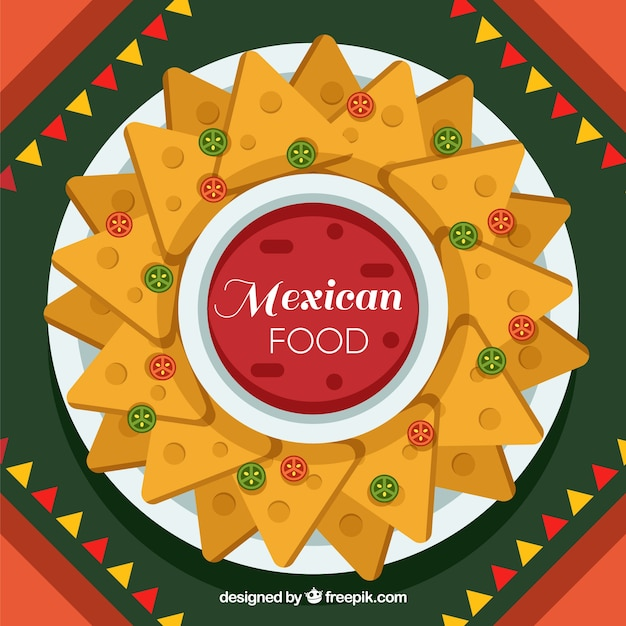 Flat mexican food background with nachos Free Vector