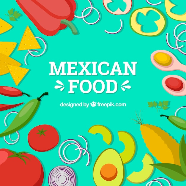 Flat mexican food background