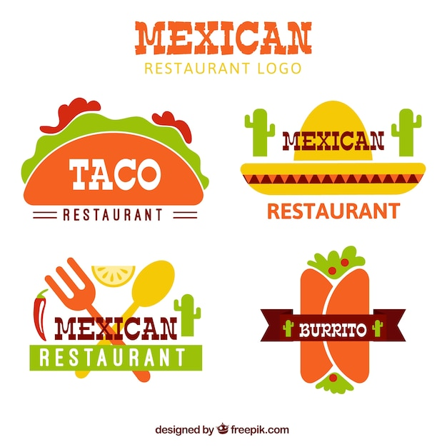 Flat mexican food logotypes Free Vector