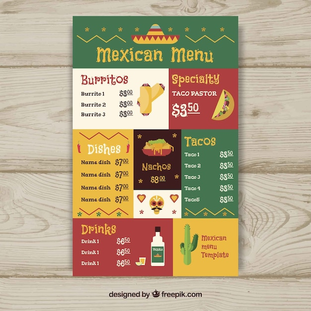 Flat mexican food menu template vector free download for Roman menu template