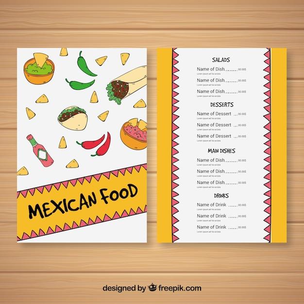 Flat mexican food menu template