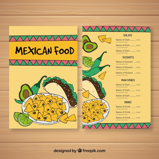 Flat mexican food menu template
