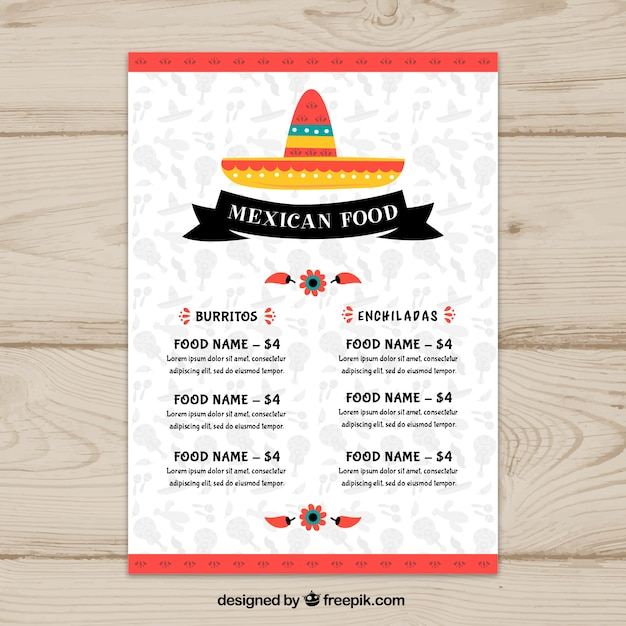Flat mexican food menu template Free Vector