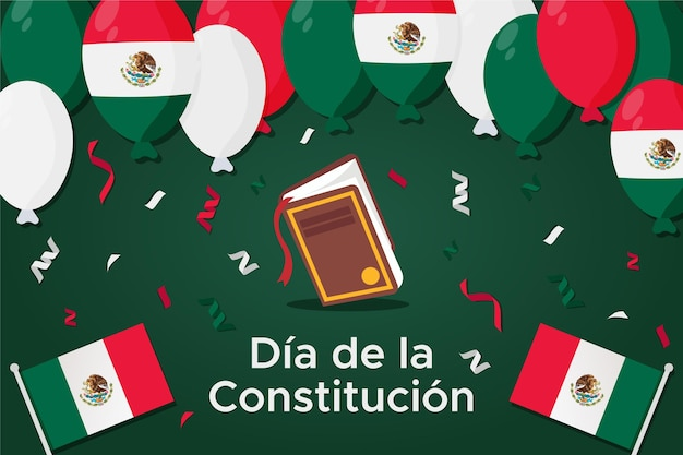 Flat mexico constitution day with balloons Free Vector
