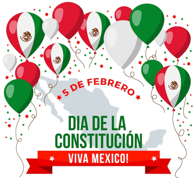 Flat mexico constitution day Free Vector