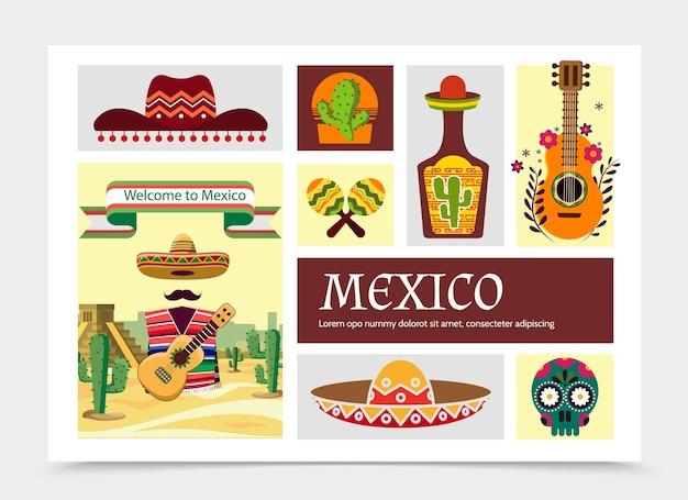 평면 멕시코 요소 구성 그림 무료 벡터