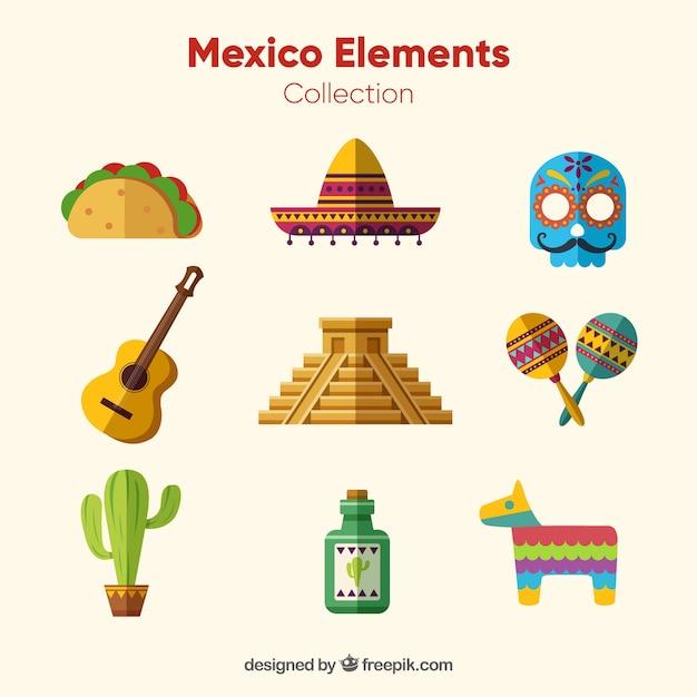 Flat mexico elements set Free Vector