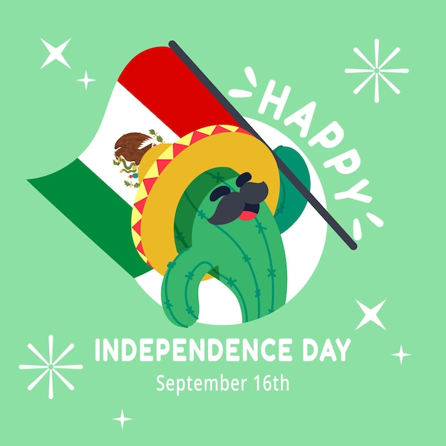 Flat mexico independence day concept Free Vector