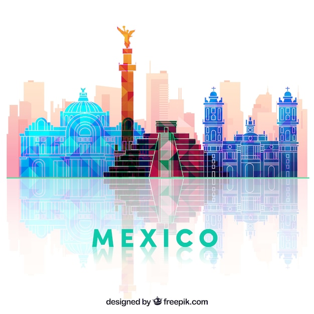 Flat mexico skyline background Free Vector
