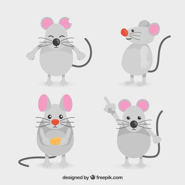 Сбор плоских мышей с разными позами Бесплатные векторы