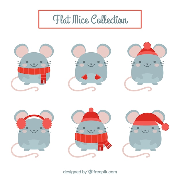 Flat mice collection with different poses Free Vector