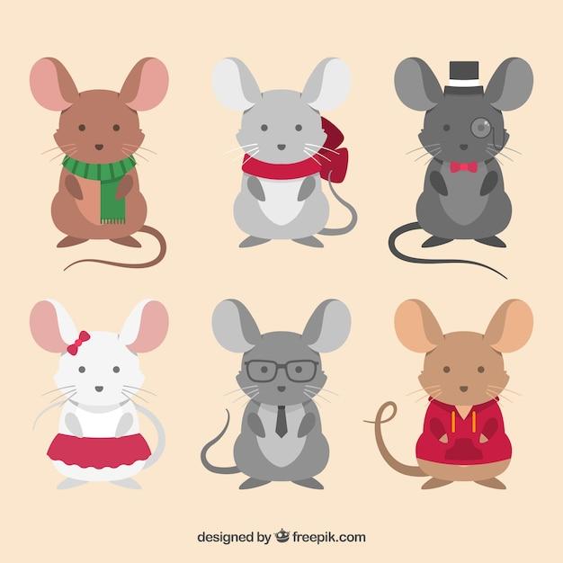 Flat mice collection Premium Vector