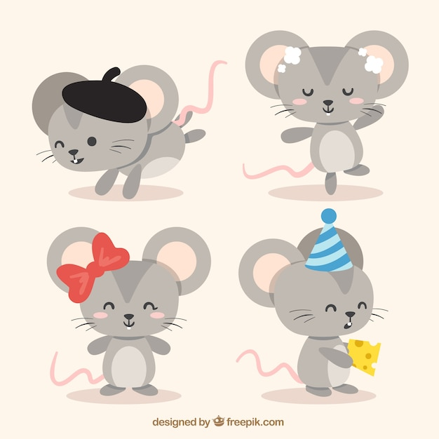 Flat mice collection Free Vector
