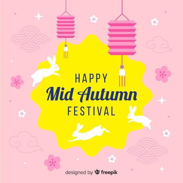 Flat mid autumn festival background Free Vector
