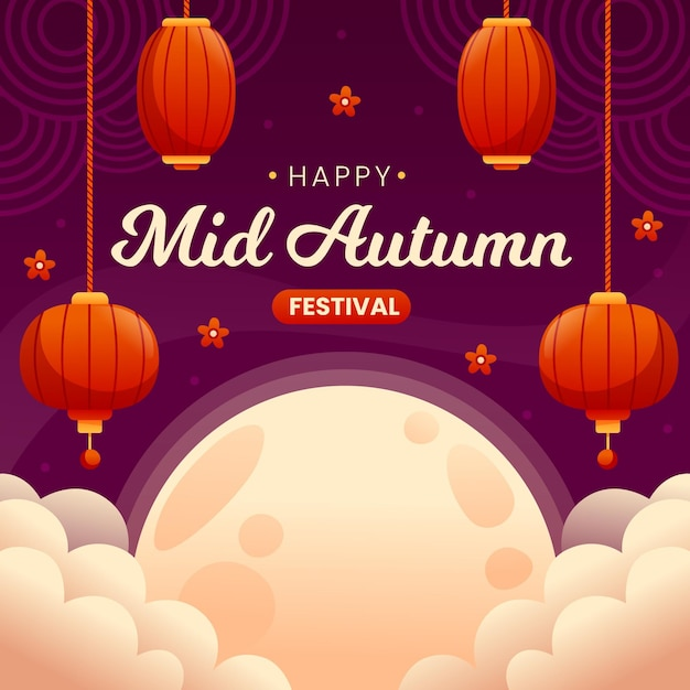 Flat mid-autumn festival Free Vector