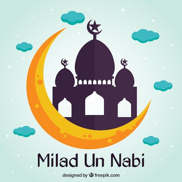 Flat Milad Un Nabi Mosque Background Vector Premium Download