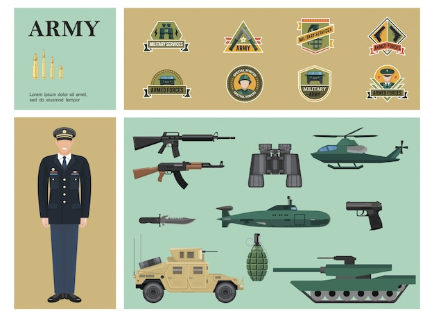 Flat military colorful composition with officer machine guns binoculars pistol grenade armored car tank helicopter submarine bullets and army labels Free Vector