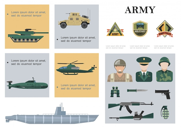 Flat military composition with tank armored car helicopter submarine warship soldiers officer weapon binoculars and army emblems Free Vector