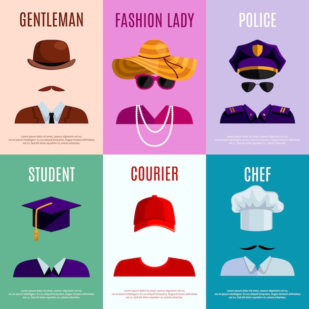 Flat mini posters set of gentleman lady police student courier Free Vector