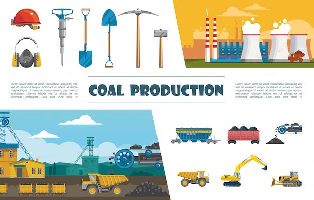 Плоские элементы горнодобывающей промышленности с шлемом, дрелью, киркой, лопатой, шлем, тележка, конвейер для угля, с угольным грузовиком, бульдозер, экскаватор, промышленный завод Бесплатные векторы