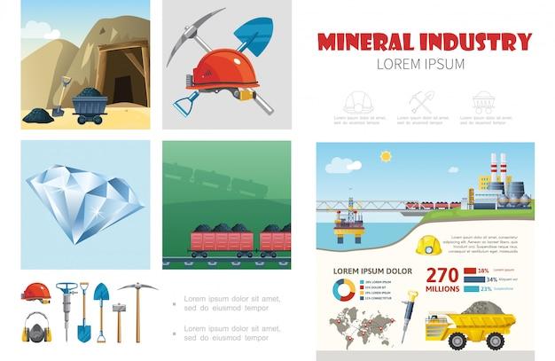 ヘルメットドリルシャベルつるはし石炭輸送鉱物抽出プラントダンプトラックとフラット鉱業業界インフォグラフィックテンプレート 無料ベクター