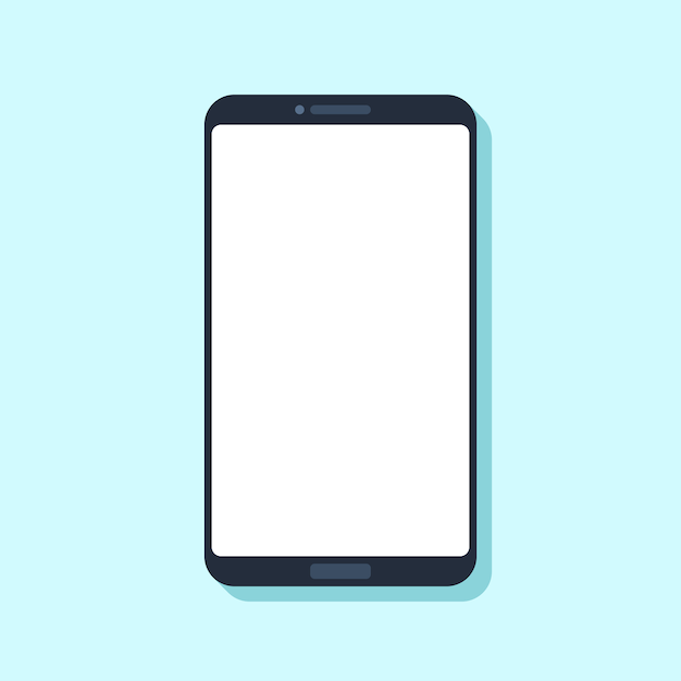 Flat mobile phone device. Premium Vector