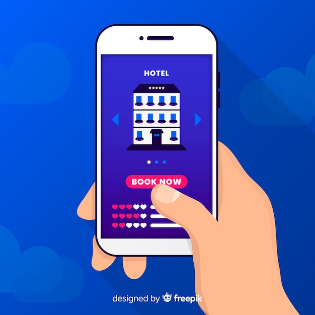 Flat mobile phone hotel booking background Free Vector
