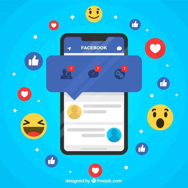 Flat mobile with facebook notifications and emojis Free Vector